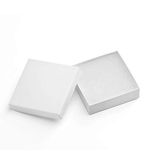 Switory Cajas de regalo de joyería de 20 piezas, 9x9x2,5cm Pequeñas cajas de papel cuadrado blanco presente para pulsera Cajas de cartón colgante Collar con relleno de pelusa de algodón