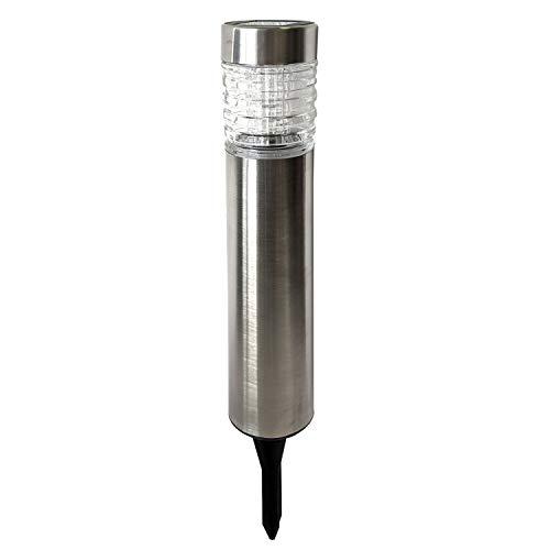 PROGARDEN Lámpara solar LED de acero inoxidable y cristal, diámetro 6 x altura 46 cm – Lámpara solar con estaca para iluminación de caminos, decoración de jardín
