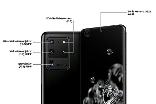 Samsung Galaxy S20 Ultra 5G Smartphone Bundle (17,44 cm) 128 GB interner Speicher, 12 GB RAM, Hybrid SIM,Android inkl. 36 Monate Herstellergarantie [Exklusiv bei Amazon]Deutsche Version, cosmic black