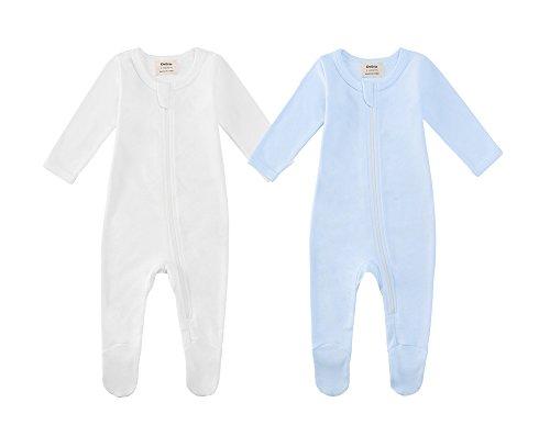 Owlivia Pijama para bebé de algodón orgánico, de manga larga, con pies Blanco natural y azul 0 mes
