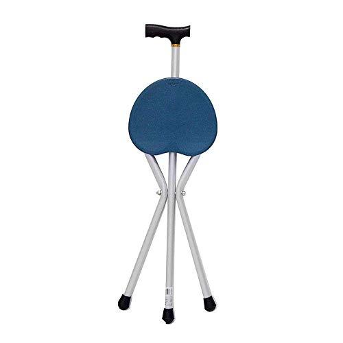 Bastón antiguo plegable Aleación de aluminio Telescópico pequeño de cuatro pies ajustable en altura (Color: Azul, Tamaño: 82,5 cm)