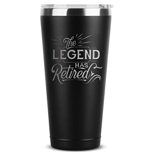 The Legend Has Retired - Retirement Gifts for Women Men Coworker Boss Supervisor Employee - 30 oz Black Insulated Stainless Steel Tumbler w/ Lid - Retiring Gift Present Ideas Party Decorations Mug Cup