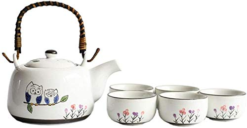 Tetera Inicio té Conjunto Sencillo Modelo Lindo del búho del Esmalte de Estilo japonés manija y de té de Conjunto de Servicios for 4 Adultos bellamente empaquetado en Caja de Regalo Excel
