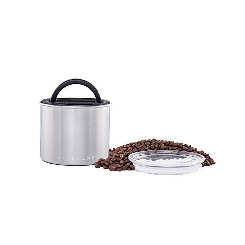 Airscape Vorratsdose für Kaffee und Lebensmittel, 90 ml, patentierter luftdichter Deckel bewahrt die Frische von Lebensmitteln – Edelstahl – gebürsteter Stahl