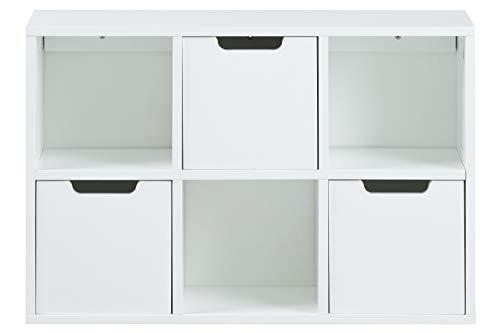 AC Design Furniture Estante Mariela, 6 Bolsillos, Cajón de 3 Piezas, Madera, Blanco, 58 x 39 x 18 cm