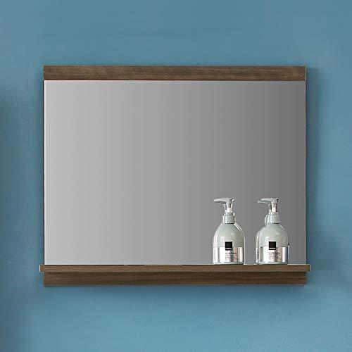 duschhaus2012 Badezimmerspiegel mit Ablage Wandspiegel Spiegel Badspiegel Walnuss
