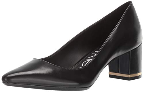Calvin Klein Women's NITA Pump, Black Leather, 9.5 M M US