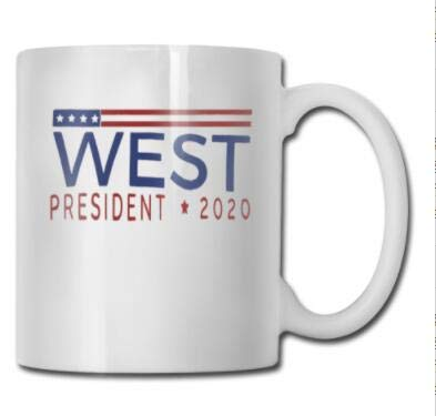 qinzuisp West für Präsidenten Coffee Mug Cup (weiß) 11oz Kanye West Geschenke Fans Art Merch Decal Aufkleber Pin Poster Yeezy Accessoires Merchandise