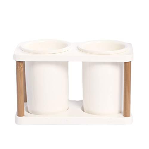 UPKOCH Soporte para utensilios de cocina Soporte para cubiertos Soporte de palillos de madera de cerámica Soporte de secado de utensilios doble para cocina casera