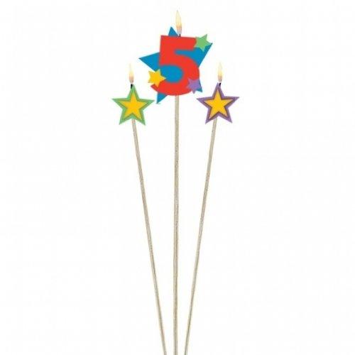 Unbekannt 3 velas de cumpleaños con estrellas del número 5.