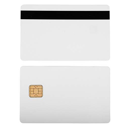 Waizmann.IDeaS® 10x Plastikkarten Magnetkarten Blankokarten Chipkarte SLE 4442 HiCo Magnetstreifen aus PVC weiß 86 x 54 x 0,76mm glänzend laminiert bedruckbar weiß