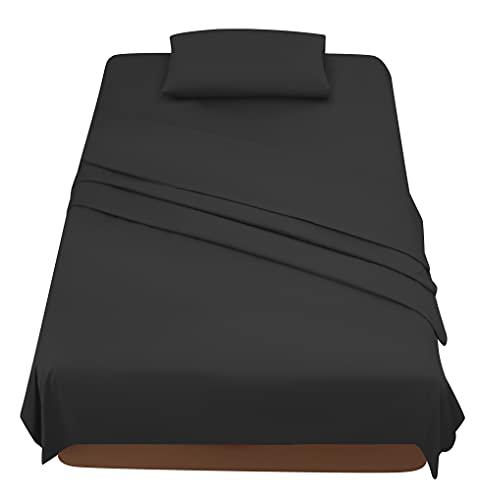Sabanas Cama 90 Negro, Juego Sábanas 90x190 3 Piezas con Bajera 90x200 Ajustable, Encimera y 1 Funda de Almohada 50x80 cm