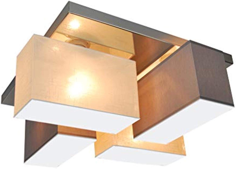 Deckenlampe Deckenleuchte mit Blenden CRJLS45GREC aus Edelstahl HausLeuchten Leuchte Lampe 4-flammig Wohnzimmerlampe Schlafzimmerlampe Küche Kinderzimmer Lampe LED-geeignet (Ecru Metall Grau)