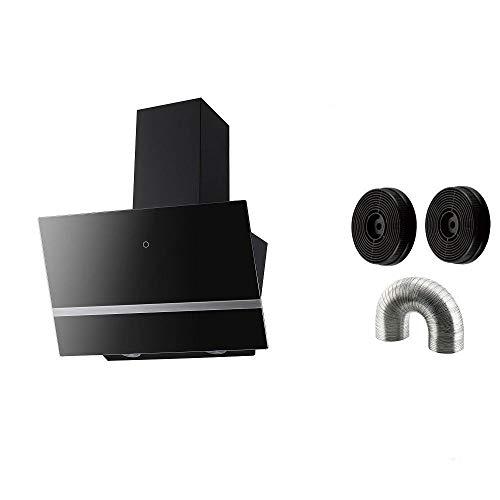 PROKIRA® DH60GB-03 deluxe 600m³/h LED Sensor touch Edelstahl Glas 60 cm Kopffreihaube Wandhaube Schräghaube Dunstabzugshaube Abluft Umluft Haube Schwarz