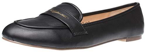 Fitters Footwear That Fits Damen Ballerina Alena PU Mokassin Loafer Slipper Übergröße (43 EU, schwarz)