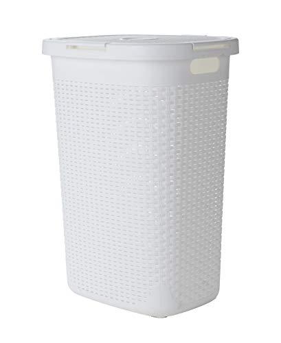 Mind Reader 60 Liter Laundry Basket with Cutout Handles, Washing Bin, White