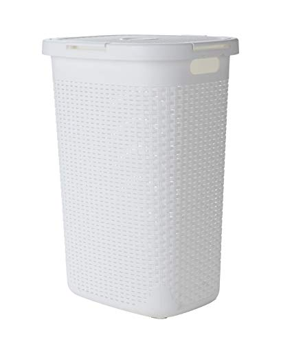 Mind Reader Basket Laundry Hamper with Cutout Handles, Washing Bin, Dirty Clothes Storage, Bathroom, Bedroom, Closet, 60 Liter, White