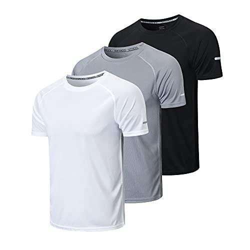 HUAKANG 3 Pack T-Shirt de Sport Homme, Baselayer T-Shirts à Manches Courtes Homme Vetement de Fitness Gym Running Tee Shirt(Black Grey White-M)