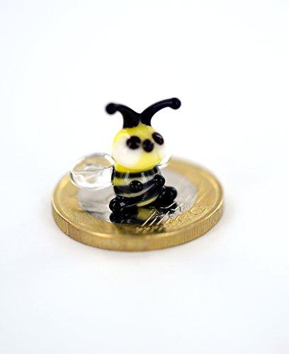 Biene Mini - Kleine Honigbiene - Waldbiene Miniatur Figur aus Glas Orange Schwarz - Glasfigur Bienchen Glastier Deko Honig Setzkasten Vitrine Glücksbringer