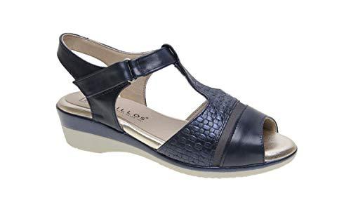 Sandalia Cierre Velcro con cuña de 4cm Anchas y cómodas (Marino, Numeric_41)