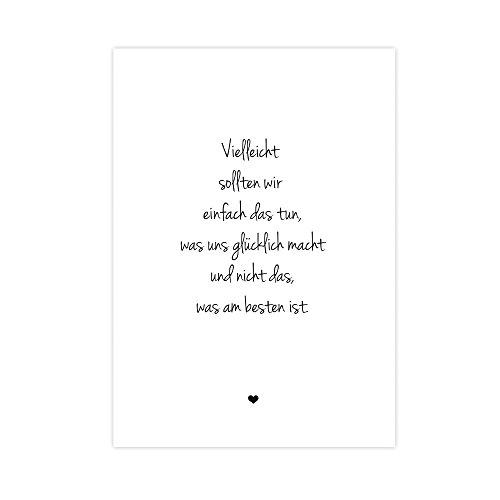 Weg zum Glück: tun, was glücklich macht - Kunstdruck auf wunderbarem Hahnemühle Papier DIN A4 -ohne Rahmen- schwarz-weißes Bild Poster Büro Wohnung als Geschenk Deko