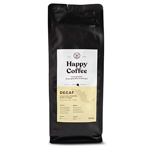 HAPPY COFFEE [DECAF] Entkoffeinierte Bio Filter Kaffeebohnen |Schokoladig, Mild & Säurearm | Ganze Bohne (500 GR)