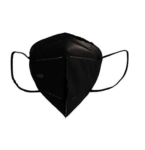 (20 PACK) Cubrebocas mascarilla KN95 NEGRO con 6 capas protectoras, empacado en bolsa individual