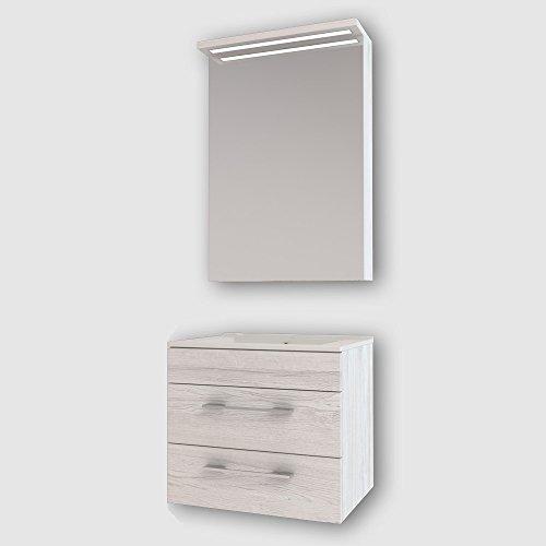 Design Badmöbel Spiegelschrank + Unterschrank + Waschbecken 60 cm in der Farbe Grau/Hellgrau/LED/Soft-Close/Montagefertig/Made IN Germany