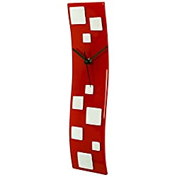 River City Clocks Red Wave Glass Art Clock with White Squares