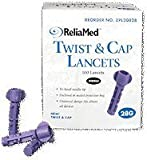 ReliaMed Twist and Cap Lancets, Purple, 28 Gauge