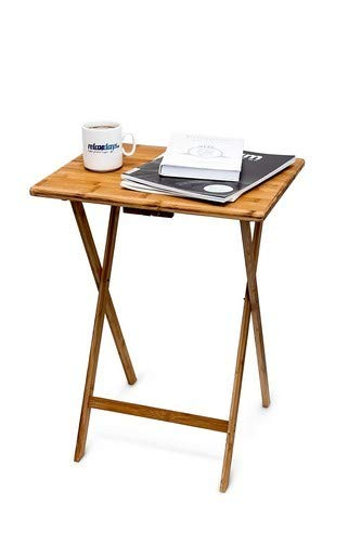 Relaxdays 10015834 Table d'appoint Pliante table console Bambou HxlxP: 68 x 48 x 38,5 cm, nature