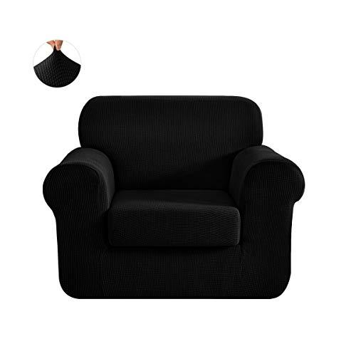 Chun Yi Jacquard-Sofa-Bezüge, zweiteiliger Schonbezug, Polyester/Elasthan-Stoff, Stretch-Schonbezug, schwarz, Chair