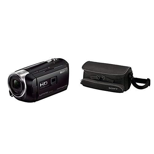Sony HDR-PJ410 Videocamera Full HD con Proiettore Integrato, Sensore COMS Exmor R, Ottica Zeiss, Zoom Ottico 30x, SteadyShot Ottico, Nero & LCS U5 Custodia Morbida per Videocamere Handycam, nero