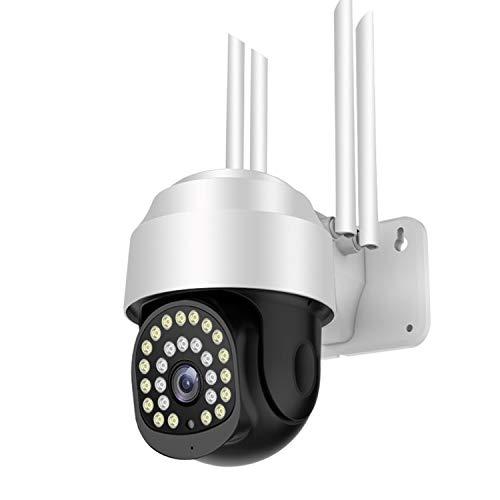 Cámara de Seguridad para Exteriores, 1080P PTZ 2.4G WiFi Vigilancia de Seguridad para el hogar, Cámara IP con IP66 a Prueba de Agua, Visión Nocturna en Color, Audio bidireccional