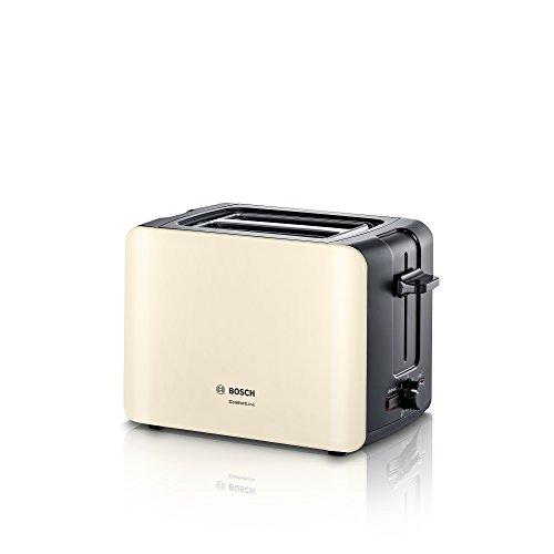Bosch Kompakt Toaster ComfortLine TAT6A117, integrierter Edelstahl-Brötchenaufsatz, mit Abschaltautomatik, mit Auftaufunktion, perfekt für 2 Scheiben Toast, Liftfunktion, breit, 1090 W, beige