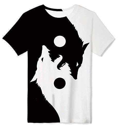 ALISISTER Jungen Teenager T-Shirt Funky 3D Wolf Drucke Tee Shirts Casual Rundhalsausschnitt Kurzarm Tshirt für 14-16 Jahre Kinder