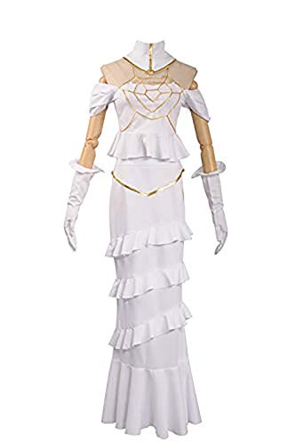 Cosplayfly Overlord Anime Albedo Weißes Kleid Halloween Cosplay Kostüm L