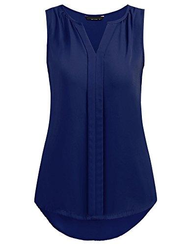 Grabsa Women's Chiffon Blouse Notch Neck Sleeveless Pleated Front Tank Top Navy Blue