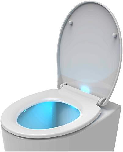 Euroshowers WC-Sitz, mit Absenkautomatik, mit Schnellspanner-Verschluss, Befestigung oben/unten, LED-Licht, Weiß