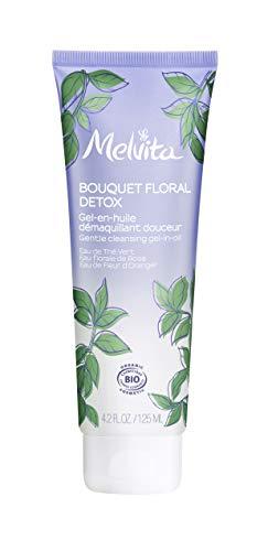 Melvita - Gel en huile demaquillant Bouquet Floral Detox - Elimine impuretés, maquillage, particules - Texture innovante 3 en 1 - Certifié Bio Naturel à 99% Vegan - Fabriqué en France - Tube 125ml