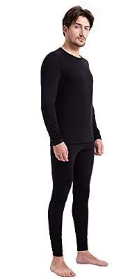 Men's 100% Merino Wool Thermal Underwear Long John Set 260g Base Layer Top and Bottom -Warm Winter