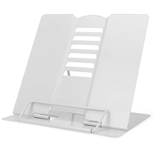 GUBOOM Atril para Libros, 6 ángulos Ajustable Soporte Libros, Metal Soporte para Libro de Cocina, iPad, Documentos, Libros de Música (Blanco)
