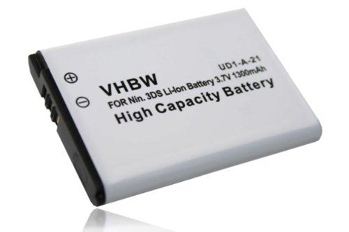 vhbw Akku passend für Nintendo 2DS, 3DS, New 2DS (XL), Wii U Pro & Switch Pro Controller ersetzt CTR-003 (Li-Ion, 1300mAh, 3.7V) Ersatzakku, Batterie