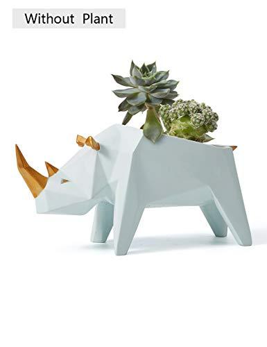 Amoy-Art Plantas Suculentas Maceta Decorativa Figura Escultura Rinoceronte Regalo Estatua Hecho a Mano Decoración del Hogar Souvenir Caja de Regalo Pintura Segura para Niños Poliresina 18cmL