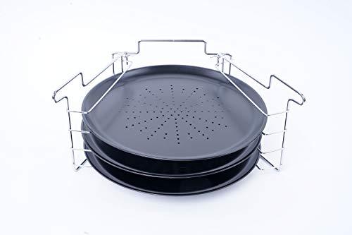 EMAKO Pizza Backblech Pizzablech 3er Set Backset mit Ständer aus Metall Ø 30 cm