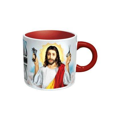 MIK Funshopping Kaffeebecher JESUS SHAVES - mit Heiss/Kalt-Motiv