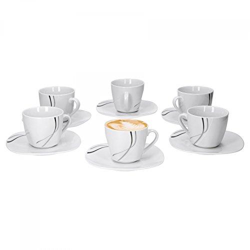 Van Well 6x 2-tlg. Kaffeetassen-Set Silver Night, kleine Tasse 180 ml + Untertasse, Hotelporzellan, Kaffeegeschirr, abstraktes Dekor, Gastro-Geschirr