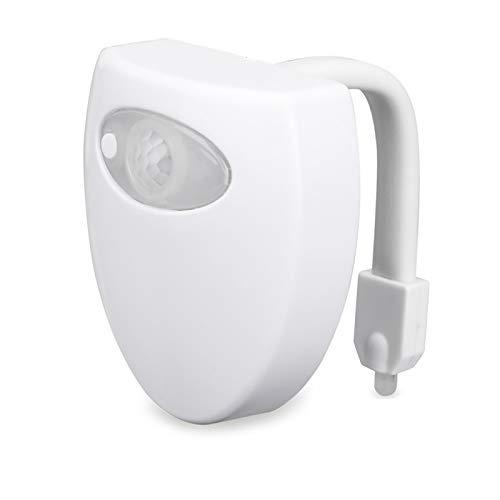NIAGUOJI - Luz nocturna LED para inodoro con sensor de baño y luz nocturna que cambia de color para cuarto de baño o baño con 16 colores impermeable y funciona con pilas