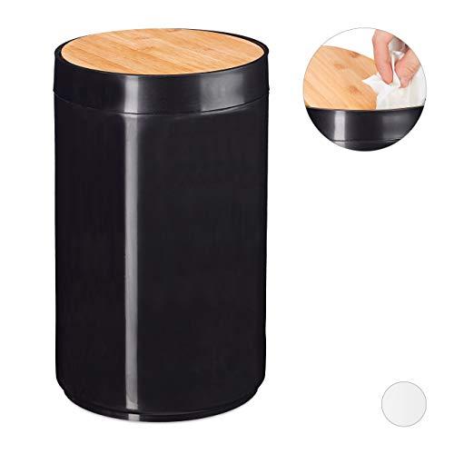 Relaxdays Kosmetikeimer, Bambus Schwingdeckel, moderner Bad Mülleimer, Kunststoff, 5,5 L, H x D: 26,5 x 18 cm, schwarz
