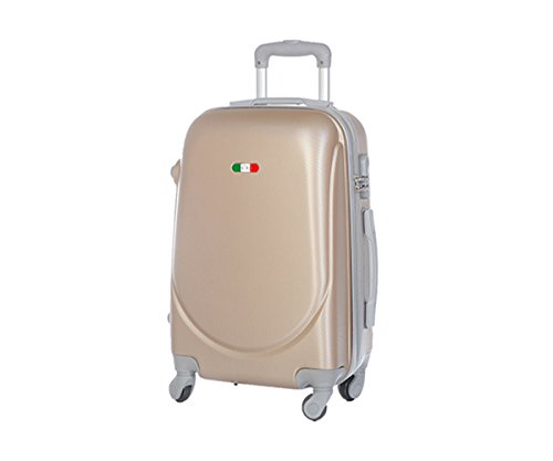 JustGlam - Bagaglio a mano Ormi 2010 Trolley rigido ABS policarbonato 4ruote adatto per voli lowcost/ Champagne